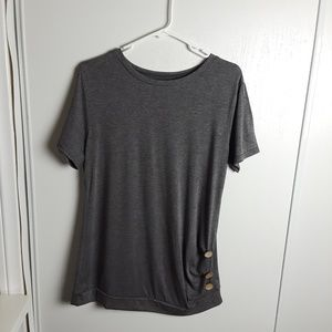 Gray Tunic Top With Side Buttons Decor